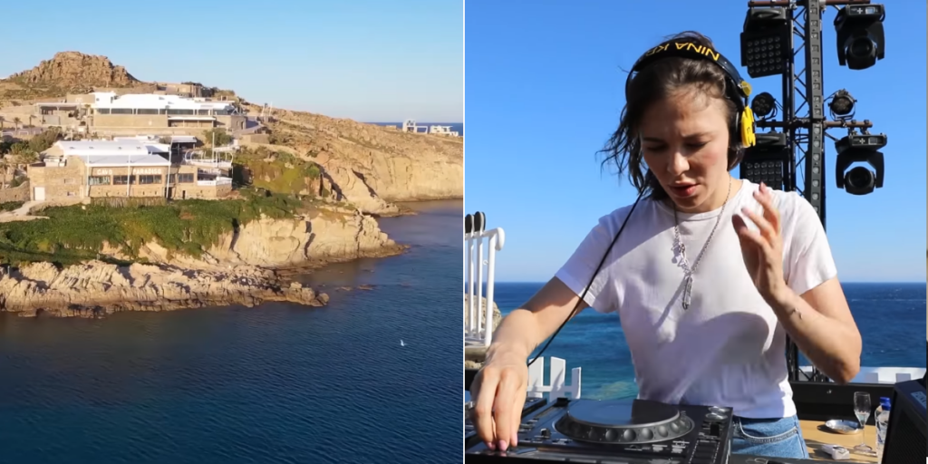 Watch Nina Kraviz playing two hours techno and trance music Dj set from Cavo Paradiso in Mykonos at Greece. Most of the tracks are new but we made at track list with some of them. You can check out the track list, video ans some information below. Nina Kraviz is a Russian DJ, music producer and singer. She was accepted into the Red Bull Music Academy in Seattle in 2005, however couldn't attend as she couldn't obtain a visa,attending the following year in Melbourne instead.By 2008 she was playing a regular night at the Propaganda Club in Moscow. Nina Kraviz is playing with a view of the archipelago